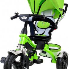 Tricicleta pentru copii cu scaun rotativ, copertina, cos, maner parental, suport picioare pliabil, culoare verde