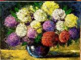 Hortensii, Flori, Ulei, Impresionism