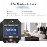 Tester priza profesional cu afisaj, tester siguranta diferentiala 30mA,model NOU, Priza electrica