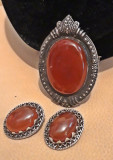 Set din argint (pandantiv-brosa si cercei) vintage