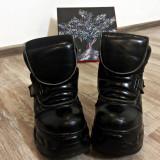 Ghete New Rock Metallic, custom made, 37 2/3, Negru