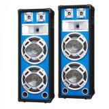Skytec Pereche de difuzoare PA de 20cm boxe cu efect de lumină albastru 2x600W