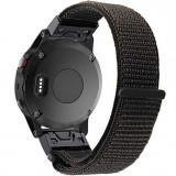Curea ceas Smartwatch Garmin Fenix 5, 22 mm iUni Soft Nylon Sport, Black