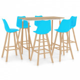 Set mobilier de bar, 7 piese, albastru, vidaXL