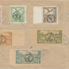ROMANIA 1920 ocupatia in Ungaria 6 timbre Debretin II anulate pe plic, 3 rare
