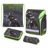 Ghiozdan ergonomic echipat Herlitz Midi Plus Motocross + CADOU