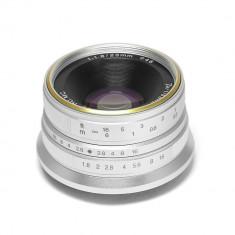 Obiectiv manual 7Artisans 25mm F1.8 Silver pentru Canon EOS-M
