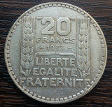(A10) MONEDA DIN ARGINT FRANTA - 20 FRANCS 1933, 20 GRAME, PURITATE 680/1000