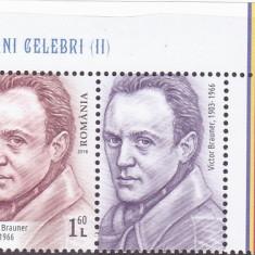 OAMENI CELEBRI II,VICTOR BRAUNER VAL 1,6 LEI  CU VINIETA ,2018,MNH,ROMANIA