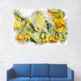 Tablou Canvas, Portret Galben, Pasarea si Fructele - 80 x 120 cm