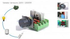 Variator tensiune Regulator turatie motor dimmer 220V 2000W foto