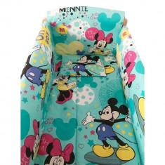 Set lenjerie pentru bebelusi cu aparatori laterale, Minnie Mickey Mouse, bumbac 100%