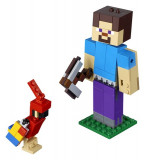 Lego Steve Minecraft Bigfig Cu Papagal