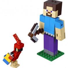 Lego Steve Minecraft Bigfig Cu Papagal