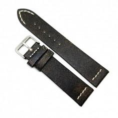 Curea pentru ceas Neagra Vintage din piele naturala 18mm 20mm 22mm C3247 H-vintage