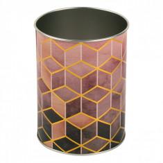 Suport metalic pentru pixuri si creioane, model forme geometrice, 8×10,5 cm, multicolor