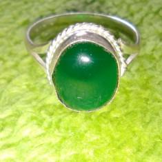 Inel argint placat cu onix verde