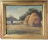 Gospodarie taraneasca, peisaj cu capite, pictura veche in ulei pe panza