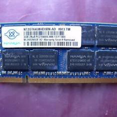 Memorii Laptop SODIMM Nanya 2GB DDR2 PC-6400S 800Mhz