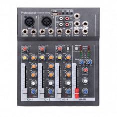 Mixer Audio Mini Portabil cu USB, 4 Canale DJ, Mix Sunet Consola, Mp3, 48V, pentru Karaoke si Petreceri