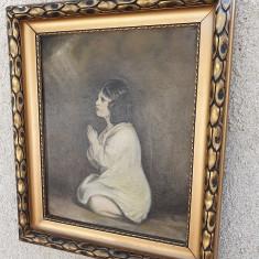 Pictura veche in ulei pe panza,,Rugaciunea,,