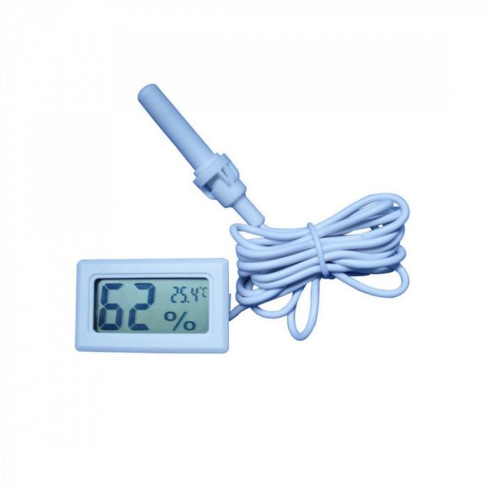 Termometru si higrometru digital, cu un senzor cu cablu, culoare alb, cu sonda