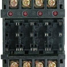 Soclu releu P6B04P, 6 pini, pentru 4 relee, fixare pe sina DIN - 126958