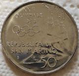 Moneda 50 LIRE - SAN MARINO, anul 1980 *cod 5253 UNC - OLIMPIADA SCHI, Europa