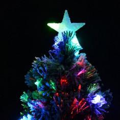 Cumpara ieftin Brad artificial de Craciun LED RGB 180 cm, aspect zapada, decor varf stea luminoasa