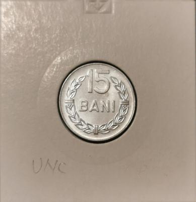 Moneda Romania 15 Bani 1975 UNC foto