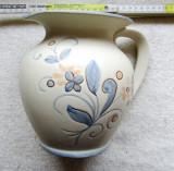 Ceramica Fritz Krug.Cana de bresla din gresie alba pictata manual.Vintage