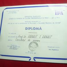 Diploma - Expozitia Filatelica 1987
