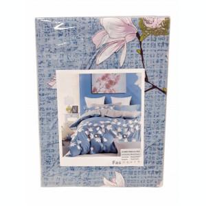 Lenjerie de pat din Microfibra bleu cu flori F04 51