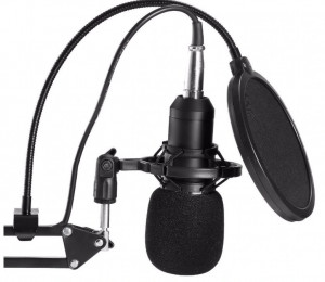 Microfon Profesional de Studio Condenser BM800 cu stand inclus pentru Inregistrare Vocala, Streaming, Gaming, Black Gold