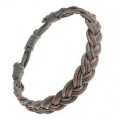 Brățară de mână împletită, șnururi așezate alternativ maro și gri, stil clasic de împletitură