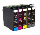 Set 5 cartuse compatibile Epson 18XL, T1811, T1812, T1813, T1814