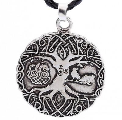 Pandantiv Copacul Vietii argint tibetan Corbi Triquetra celtic viking+BONUS SNUR foto