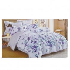 Lenjerie pat dubla, bumbac 100%, 4 piese, model Floral Albastru