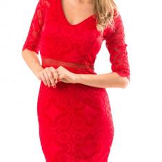 Rochie rosie dantelata Masura unica