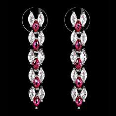 Cercei placati cu Aur 18K si Diamante, Maya Platinum & Red