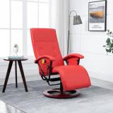 VidaXL Scaun de masaj, roșu, piele ecologică