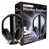 Casti wireless 5 in 1 cu microfon si radio FM incorporat, Oem