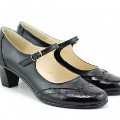 Pantofi dama eleganti din piele naturala cu toc mic - P104NLCROCO