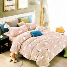 Lenjerie de pat din Bumbac Satinat pentru 2 persoane cu 4 piese F12A 04, 230x250 cm, Set complet