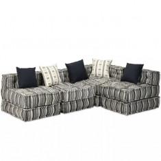 Canapea modulară cu 4 locuri, Textil cu dungi