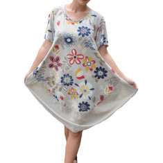 Rochie Agnette, imprimeu camp-flower, nuanta de crem