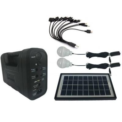 Kit cu Panou Solar, USB si Becuri LED, 6V 4Ah GD8017A foto