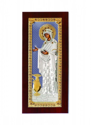 Iconita Argintata Maica Domnului Sporul Casei 5x9cm Blue Cod Produs 2140 foto