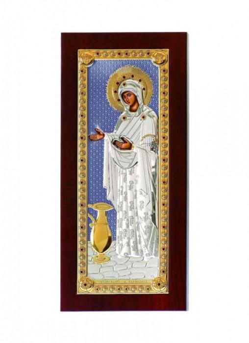 Iconita Argintata Maica Domnului Sporul Casei 5x9cm Blue Cod Produs 2140