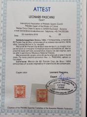 Moldova 1858 , Cap de Bour 80 par. tip II. Em. a II a ,cu certificat! MLH foto